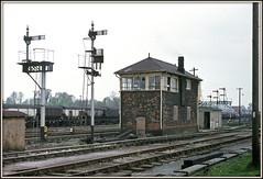 Echoes of the Great Western? (david.hayes77) Tags: westburysouthsignalbox westbury semaphores gwr tsbg wiltshire wilts 1974 perutz peruchrome signals greatwesternrailway gantry
