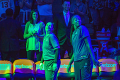 Lindsay Whalen imitates Seimone Augustus' opening entrance at the beginning of the Minnesota Lynx vs Chicaco Sky game at Target Center (Lorie Shaull) Tags: minnesota minneapolis minnesotalynx lynx wnba womensbasketball basketballplayer basketball lindsaywhalen seimoneaugustus targetcenter