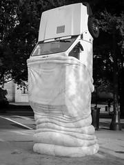 Sculpture with car (N.the.Kudzu) Tags: urban city atlanta georgia midtown streetart sculpture bw canondslr canoneflens lightroom flash