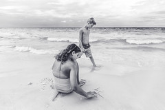 (Rebecca812) Tags: girl boy beach waves water gulf gulfcoast blackandwhite portrait lifestyle candid family twins brother sister sand play fun florida people canon