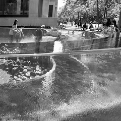 touch (Super G) Tags: bw sanfrancisco california unitedstates us blackandwhite streetphotography water woman distortion hand glass refection