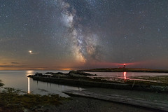 'Cafn Enlli' - Ynys Enlli (Kristofer Williams) Tags: ynysenlli bardseyisland wales coast beach harbour slipway lighthouse milkyway night sky stars landscape nightscape mars water sea