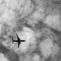 Leaving Seattle *Explore* (bellydanser) Tags: sky clouds plane airliner bw blackandwhite monochrome