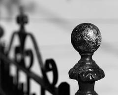 gate post cap (queue_queue) Tags: gate post cap iron shallowdof background ball monochrome blackandwhite