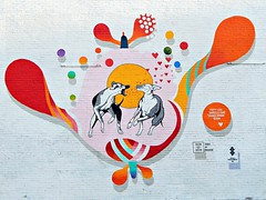 Love and friendship (Pwern2) Tags: mural art drawing illustration winnipeg thepeg peg manitoba manitobans canada canadians friendship mansbestfriend colour playing crisp peace eden love