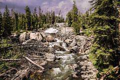 Crazy Ceek Falls In August (wyojones) Tags: wyoming absarokamountains beartoothhighway shoshonenationalforest parkcounty geology crazycreekfalls ramp cascade waterfall fan trees lowwater storm clouds wyojones np