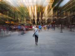 The rush of Barcelona (seantindale) Tags: barcelona catalunya spain espana movement travel zoomburst blur people