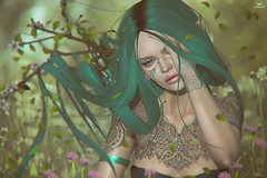 Yeri~Airy Fairy.... (Skip Staheli *10 YEARS SL PHOTOGRAPHER*) Tags: skipstaheli secondlife sl avatar virtualworld dreamy digitalpainting fantasy fairy leaves flowers spring fresh cute yeriakcouturier