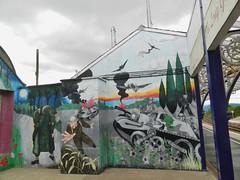 """The Long Goodbye"" 4th Battalion Seaforth Highlanders Mural, Invergordon Railway Station, Invergordon, August 2018 (allanmaciver) Tags: 4th battalion seaforth highlanders regiment highlands invergordon railway station tracey shough 2007 tank action aeroplane art mural allanmaciver"