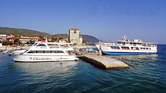 Greece, Macedonia, Aegean Sea, Chalkidiki, Ouranoupolis harbor,   small ferries for short cruises around Mount Athos peninsula (Macedonia Travel & News) Tags: greecemacedonia agiooros cruise chalkidiki aegeansea macedoniatravel greece makedonia macedoniatimeless macedonian macédoine mazedonien μακεδονια ancient greek culture vergina sun blog star thessaloniki hellenic republic prilep tetovo bitola kumanovo veles gostivar strumica stip struga negotino kavadarsi gevgelija skopje debar matka ohrid mavrovo heraclea lyncestis history alexander great philip macedon nato eu fifa uefa un fiba macedonianstar verginasun macedoniapeople macedonians peopleofmacedonia macedonianpeople macedoniablog macedoniagreece timeless македонија macedonianews macedoniapress македонијамакедонскимакедонци