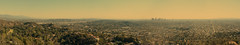 Los Angeles - California - Panorama (xtaros) Tags: california panorama losangeles city horizon sky buildings tallbuildings streets avenues roads perspective the thevalley angeles los xtaros haze panoramic vista cityscape skyline wide widescreen autopano kolorautopano golden valley