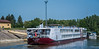 2018 - Hungary - Mohács - Border Control Dock (Ted's photos - For Me & You) Tags: 2018 cropped hungary mohã¡cs nikon nikond750 nikonfx tedmcgrath tedsphotos vignetting belvedere danuberiver danube river water blue bluesky dock red redrule