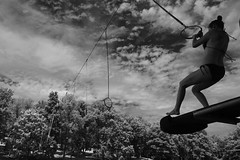 launch point (brown_theo) Tags: forest hill lake fresno ohio coshocton county water rings fun sky swing launch infrared