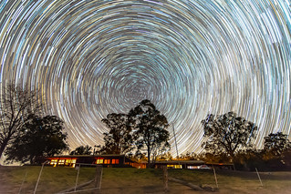 Star Trail on Rural Property with gum trees and house