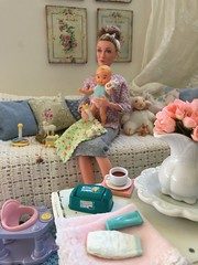 3. Although happily enjoying her time with Baby Rosie, Great-Grandmother is looking forward to a little rest and sipping her hot chamomile tea. (JunqueDollBoutique) Tags: dame maggie smith minerva mcgonagall professor shabby chic cottage living room couch pillows diorama dio great grandmother vintage barbie babysits mattel sylvan nursery toys junque doll boutique family pastel