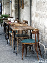 Coffee break (Jean S..) Tags: table chair café restaurant outdoors old ancient stone street