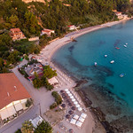 Aerial shot of the beach in Afitos at sunset thumbnail