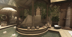 Poolside... (kellytopaz) Tags: pool second life dust bunny virtual living ring dog candle garden shower parasol