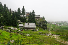 (HimzoIsić) Tags: landscape village countryside rural forest conifer house trail grassland grass fog mist outdoor mountain mountainside hill nature