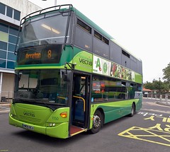 Southern Vectis Scania Omnicity bodied Scania N270UD HW09BCU in Newport Bus Station 19 August 2018 (IslandYorkie) Tags: buses busesinthesouthofengland busesontheisleofwight doubledecker scaniabuses scanian270ud scaniabody scaniaomnicity hw09bcu 1150 southernvectis svoc goaheadgroup gosouthcoast newport newportbusstation isleofwight busesihavedriven garlicfestival2018