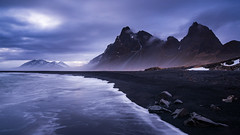 Eystrahorn and the beach (modesrodriguez) Tags: eystrahorn blacksand beach iceland travel moutain landscape seascape color clouds longexposure rocks water sea ocean islandia paisaje