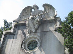 IMG_7503 (Brechtbug) Tags: roof sitting angel clutching sword above mausoleum entrance granite greenwood cemetery statue wings graveyard tomb horn tombstone crypt mausoleums angels swords seated green wood brooklyn new york city 2018 nyc located corner border ave sassafras 08122018
