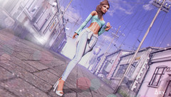 Summer in The City (Ary McAuley) Tags: sl second life fashion blog outfit pastel pink mint white jeans lightblue city summer hot sun sunshine concrete urban cable blueberry chicchica nerido navycopper bossie studio exposure arte imitation catwa maitreya
