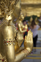 Statue at Temple of the Emerald Buddha (Sean Maynard) Tags: statue temple gold jewels female pray religion buddhism buddhist emerald buddha templeoftheemeraldbuddha bangkok thailand grandpalace 6d canon6d 24105l