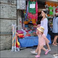 Crying - Phuket, Thailand (TravelsWithDan) Tags: motheranddaughter younggirl hat dress crying sad sidewalk store candid phuket thailand canong3x city urban outdoors