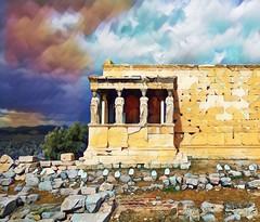 The Caryatids, the statues of the Erechtheion. (Rudike) Tags: korai statues griechenland griekenland hellas greektemple greece erechtheion caryatids acropolis athene arhens