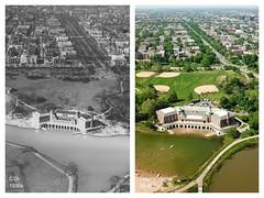 Humboldt Park field house before and after (Steven Vance) Tags: humboldtpark park chicago aerialphotography djimavicpro vintage blackwhite