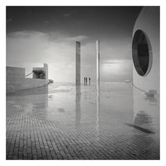 In-between State II (Vesa Pihanurmi) Tags: portugal lisbon lisboa champalimaudcenter wet character figure reflection architecture men people streetphotography