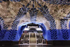 T-Centralen (Douguerreotype) Tags: sverige blue steps tube symmetry tunnel art underground sweden urban stockholm tbana city escalator architecture tunnelbana metro stairs subway station