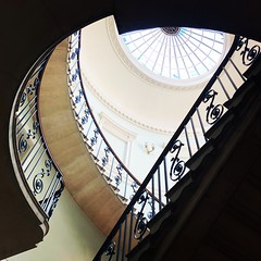 Upstairs (vapour trail) Tags: stairs stariwell step railing metal stone marble somerset house london building museum gallery