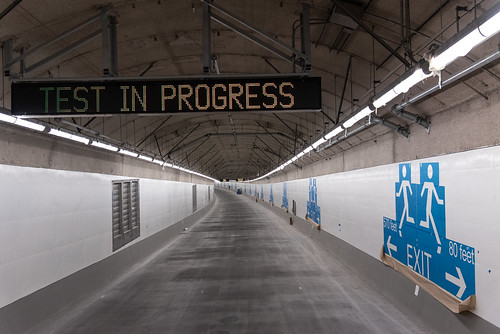 Safety signs inside the SR 99 tunnel