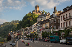 Cochem (music_man800) Tags: cochem germany deutschland moselle mosel river valley town city urban road street restaurants cafe tourism tourist reichsburg castle fort view scene scenery roadtrip trip holiday suny june 2018 sunny cycle canon 700d adobe lightroom creative cloud edit photography golden hour evening afternoon gold reflections sky light green trees outdoors outside natural blue clouds white quaint historic