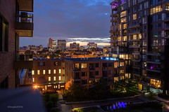 Urban Life (caribb) Tags: urbandwellers downtownlife downtownliving modernarchitecture courtyard cityscape balconyview nightphotography night montreal montréal quebec québec canada urban city 2018 downtown centreville centrum villemarie skyscrapers condotowers condos condominimums livingspaces homes citylife balconies evening