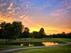 Best Shot of the Night (sawestho) Tags: iphone golfcourse clouds path trees pond golf sunset