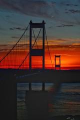 Fireball over the Severn Bridge. (Joe Jancar) Tags: riversevern sunset