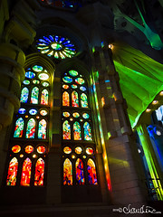 (by claudine) Tags: light16 light l16 capturedbylight barcelona spain summer sagrada família church religious landmark monument hand built artistic creative art sculpture architecture building unfinished colorful stained glass vibrant rainbow colors blue green red orange yellow cast casting columns catalan architect antoni gaudí temple