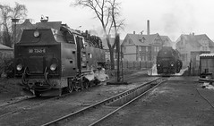 Wernigerode DR  |  1989 (keithwilde152) Tags: br992324 997245 997243 wernigerode dr ddr east germany 1989 depot tracks town buildings architecture metre gauge personnel steam locomotives blackandwhite monochrome outdoor spring