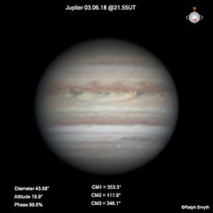 Jupiter (RGB Image) )03.06.18 @21.55UT (Ralph Smyth) Tags: jupiter zwo 290mm planet