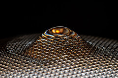 Strainer Abstract (Mark Wasteney) Tags: macromondays mesh hmm strainer metal metallic wires drop water refraction landscape macro closeup patterns textures kitchenitem tool dof depthoffield