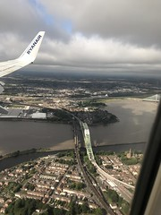 Liverpool - Merseyside - England - August 2018 (firehouse.ie) Tags: railroad railway road urban city landscapes landscape august2018 uk mersey rivers bridges bridge river england liverpool merseyside aerialview windowseat
