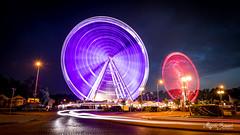 Ferris wheel in Gdynia (Magda Banach) Tags: canoneos5dmarkiv ferriswheel gdynia poland polska skwerkościuszki amusementpark bluehour colors lights longexposure night outdoor outside port summer