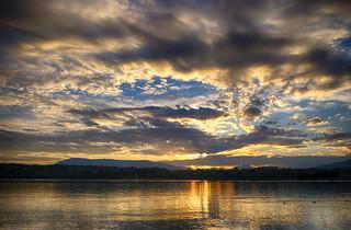 Lake Geneva sunset in Switzerland