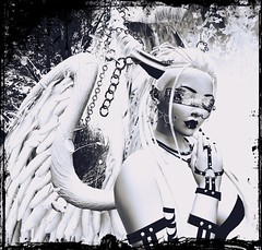 because i have wings do i also have the right to judge (kay_1806) Tags: secondlife black white wings catwa blindfold angel demon horns passion