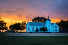 Ocker Brethren Church - Ocker, Texas (lonestarbackroads) Tags: architecture belltower brethren building christian church cloud clouds country overcast rural steeple structure sunset texas tx unitedstates us