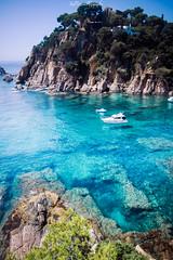 Flying Boat (freuddy) Tags: sea seashore rock boat landscape colour paradise espagne spain beach water blanes