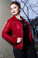 Test Shoot - Amanda (3) (FightGuy Photography) Tags: amanda shorthair jacket leatherjacket redjacket red strobist portrait canon7dmarkii bethesda fightguyphotography